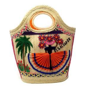 Vintage 1960's El Salvador Straw Summer Tote 0497